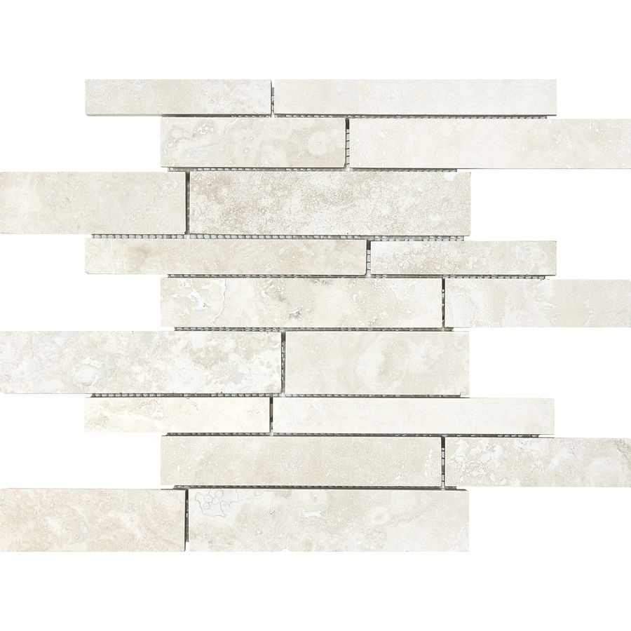 Anatolia Tile Ivory Premium Linear Mosaic Travertine Wall Tile (Common: 12-in x 12-in; Actual: 12-in x 12-in)