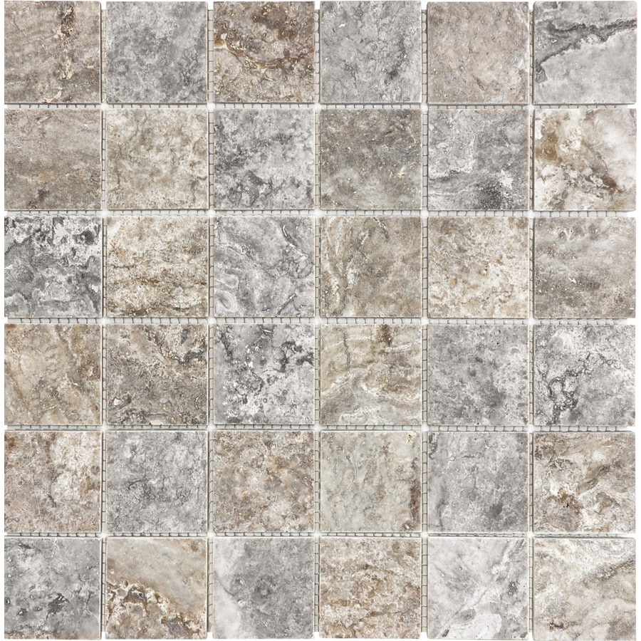 Anatolia Tile Silver Ash Uniform Squares Mosaic Travertine Wall Tile (Common: 12-in x 12-in; Actual: 12.008-in x 12.008-in)