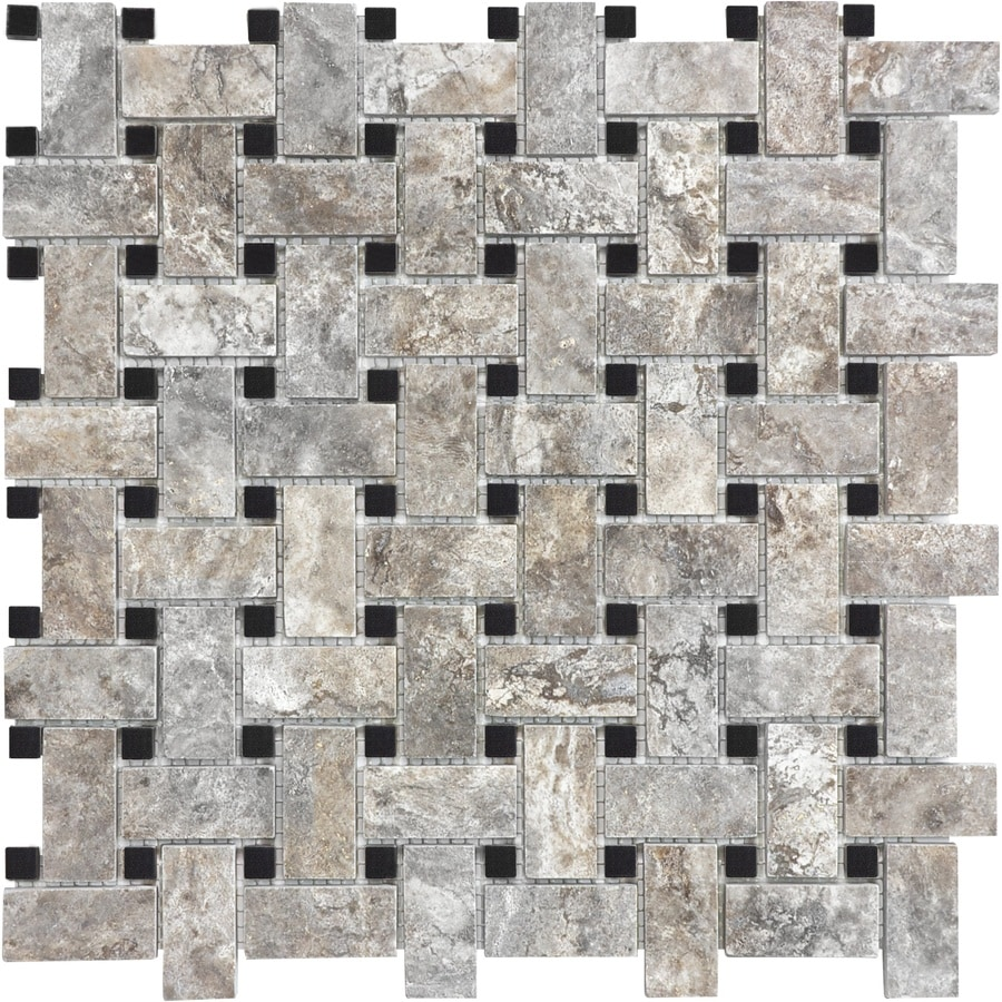 Anatolia Tile Silver Ash Basketweave Mosaic Travertine Wall Tile (Common: 12-in x 12-in; Actual: 12.512-in x 12.008-in)