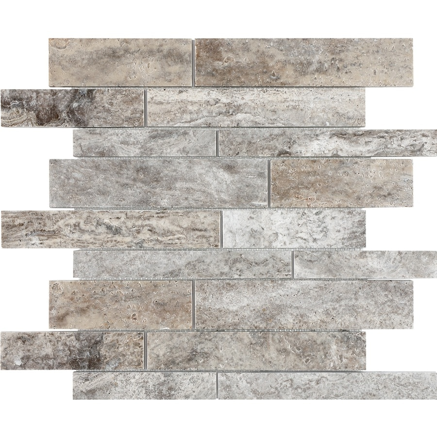 Anatolia Tile Silver Ash Linear Mosaic Travertine Wall Common 12 In X