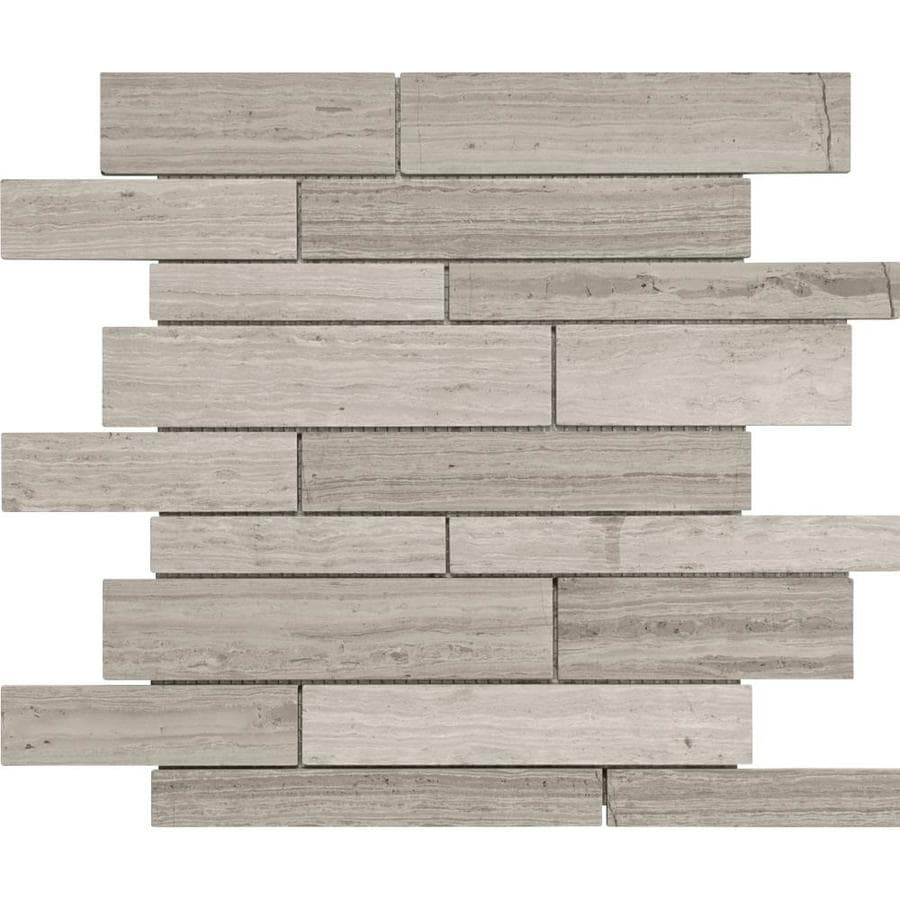 Anatolia Tile Strada Mist Linear Mosaic Marble Wall Tile (Common: 12-in x 12-in; Actual: 12-in x 12-in)