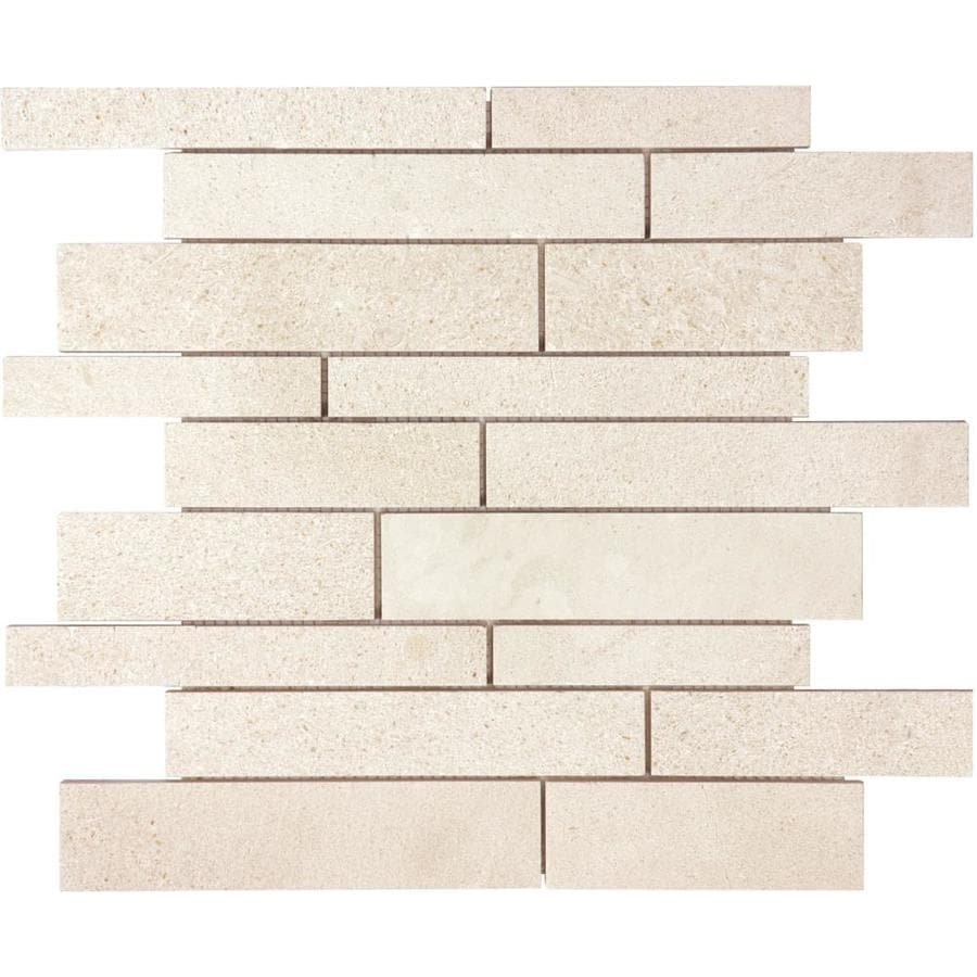 Anatolia Tile Serene Ivory Linear Mosaic Limestone Wall Tile (Common: 12-in x 12-in; Actual: 12-in x 12-in)