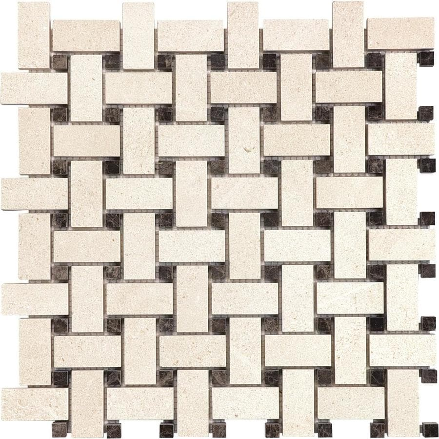 Anatolia Tile Serene Ivory Basketweave Mosaic Limestone Floor and Wall Tile (Common: 12-in x 12-in; Actual: 12-in x 12-in)