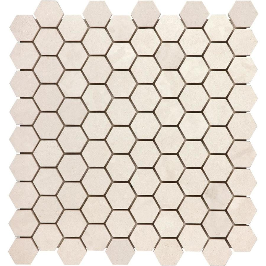 Anatolia Tile Serene Ivory Honeycomb Mosaic Limestone Floor and Wall Tile (Common: 12-in x 12-in; Actual: 12-in x 11.57-in)
