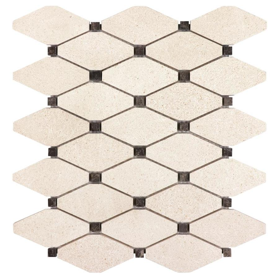 Anatolia Tile Serene Ivory Diamond Mosaic Limestone Floor and Wall Tile (Common: 12-in x 12-in; Actual: 12-in x 10.51-in)