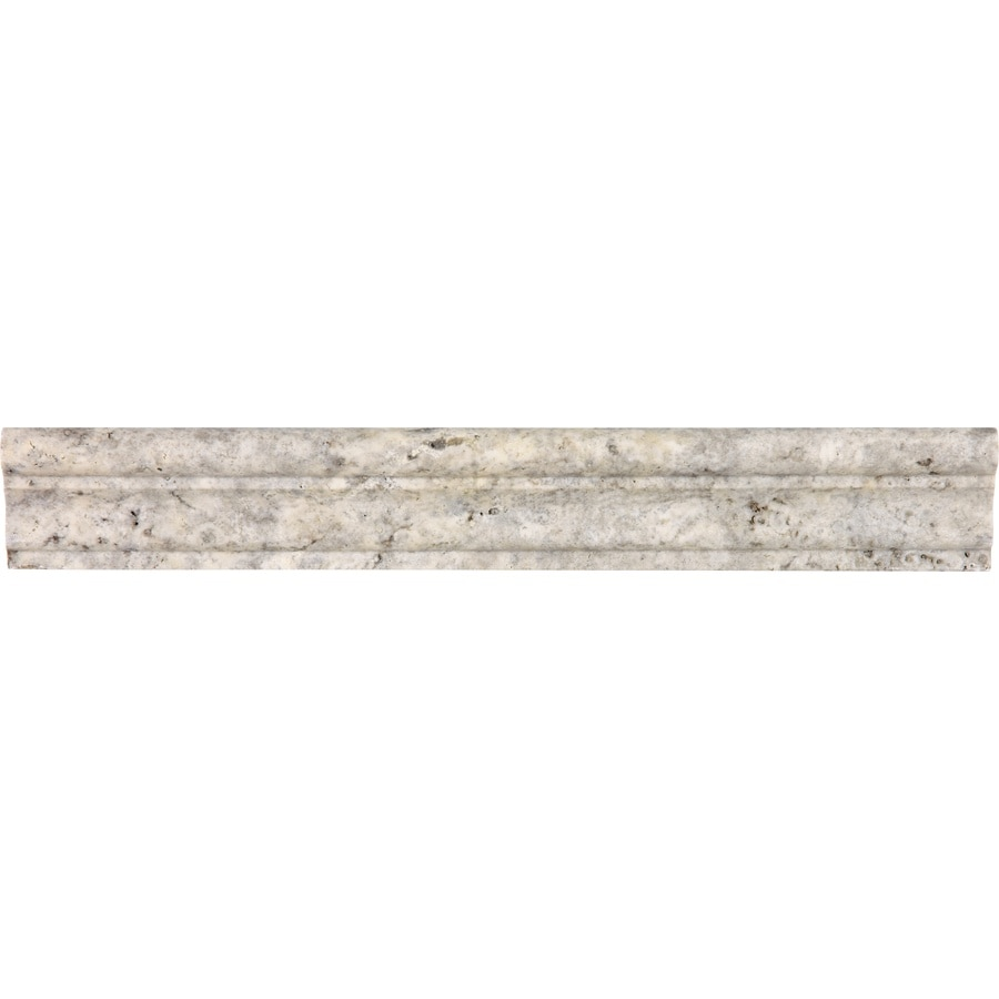 Anatolia Tile Silver Ash Natural Stone Travertine Chair Rail Tile (Common: 2-in x 12-in; Actual: 12.008-in x 7.79-in)