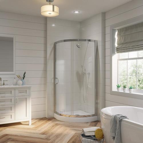 OVE Decors Breeze Chrome Floor Round 2-Piece Corner Shower