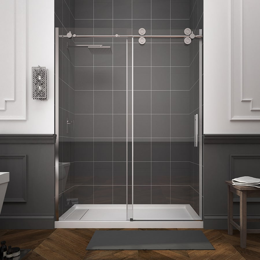 Shower door dreamline bathroom shower doors frameless glass shower - Ove Decors Sydney 56 In To 59 5 In W Frameless Polished Chrome Sliding Shower