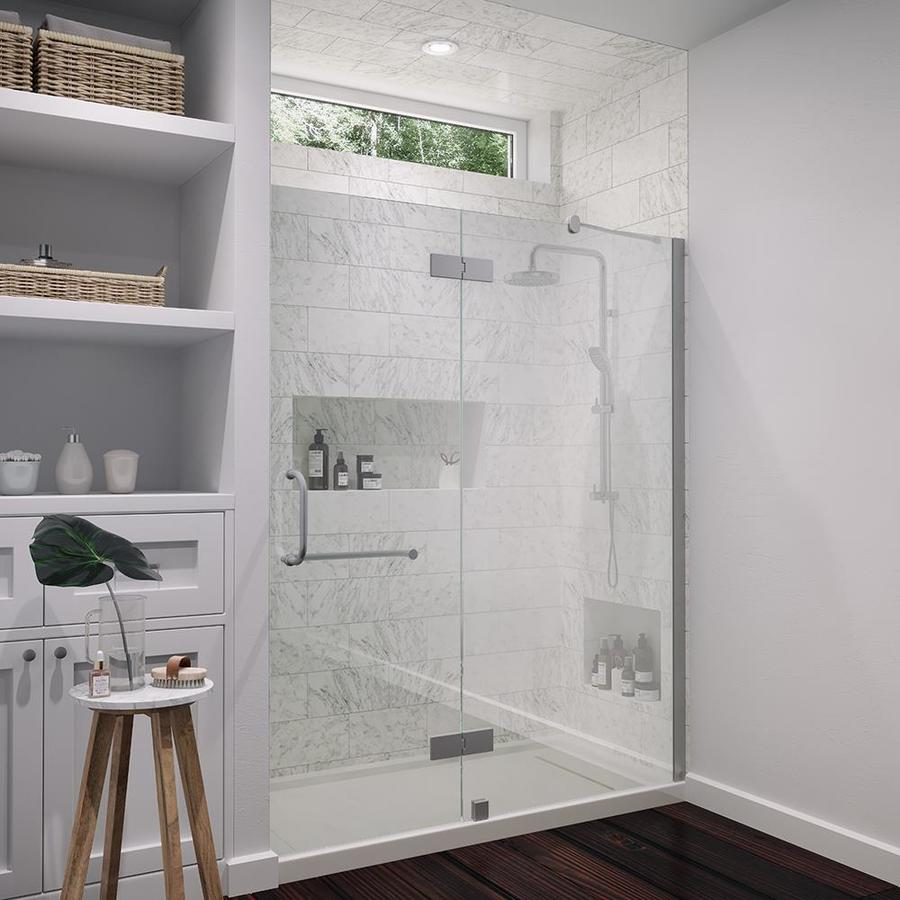 OVE Decors Shelby 58.25-in to 58.75-in Frameless Brushed Nickel Hinged Shower Door