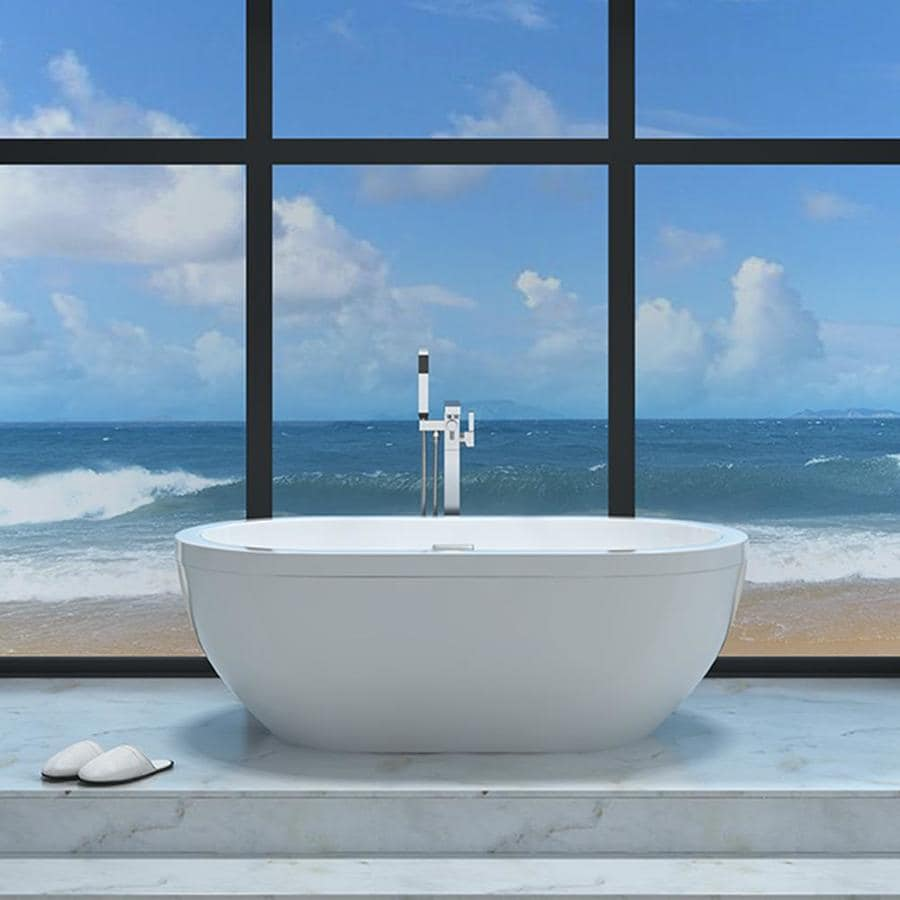 Shop OVE Decors Noah 63-in Gloss White Acrylic Freestanding Bathtub ...