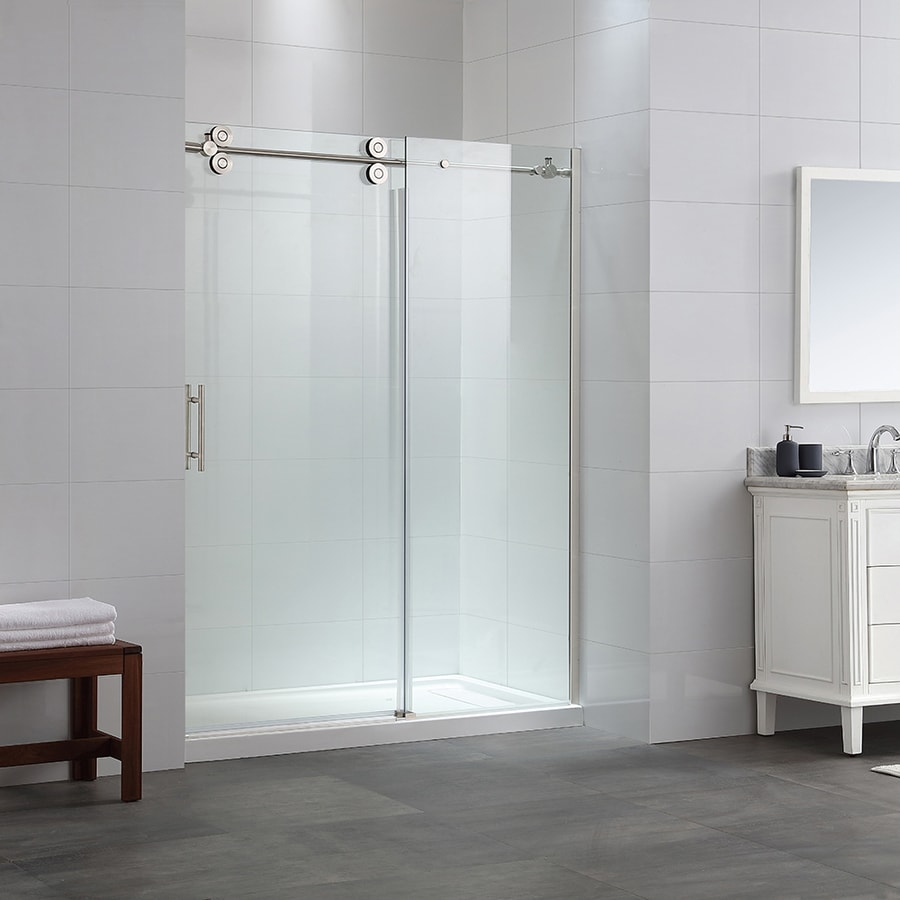 ove decors sydney 56in to 595in frameless satin nickel sliding shower door - Delta Shower Doors