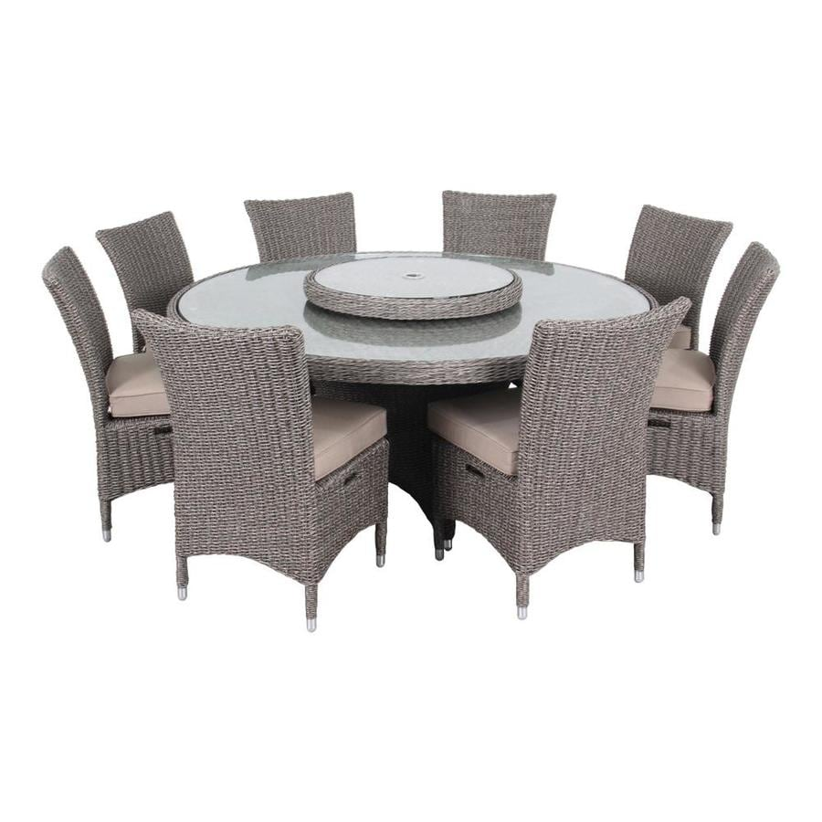 OVE Decors Habra 9-Piece Two-tone Aluminum Wicker Dining Patio Dining Set with Gray Textilene Cushion