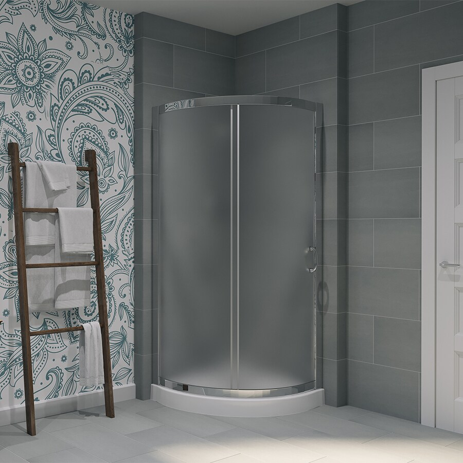 OVE Decors Breeze Paris Chrome  Acrylic Floor Round 2-Piece Corner Shower Kit (Actual: 76-in x 31-in x 31-in)