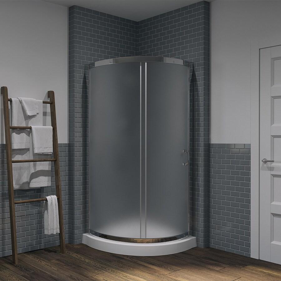 OVE Decors Breeze Paris Chrome Acrylic Floor Round 2-Piece Corner Shower Kit (Actual: 76.0-in x 34.0-in x 34.0-in)