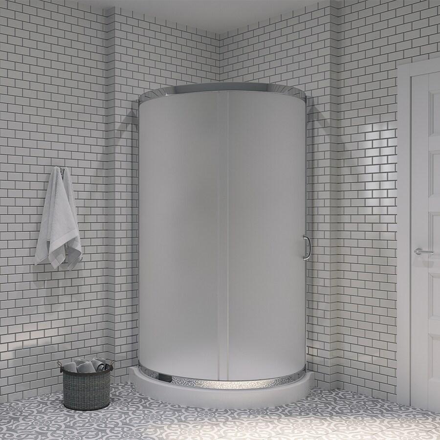 OVE Decors Breeze Paris Chrome Acrylic Floor Round 2-Piece Corner Shower Kit (Actual: 76-in x 36-in x 36-in)