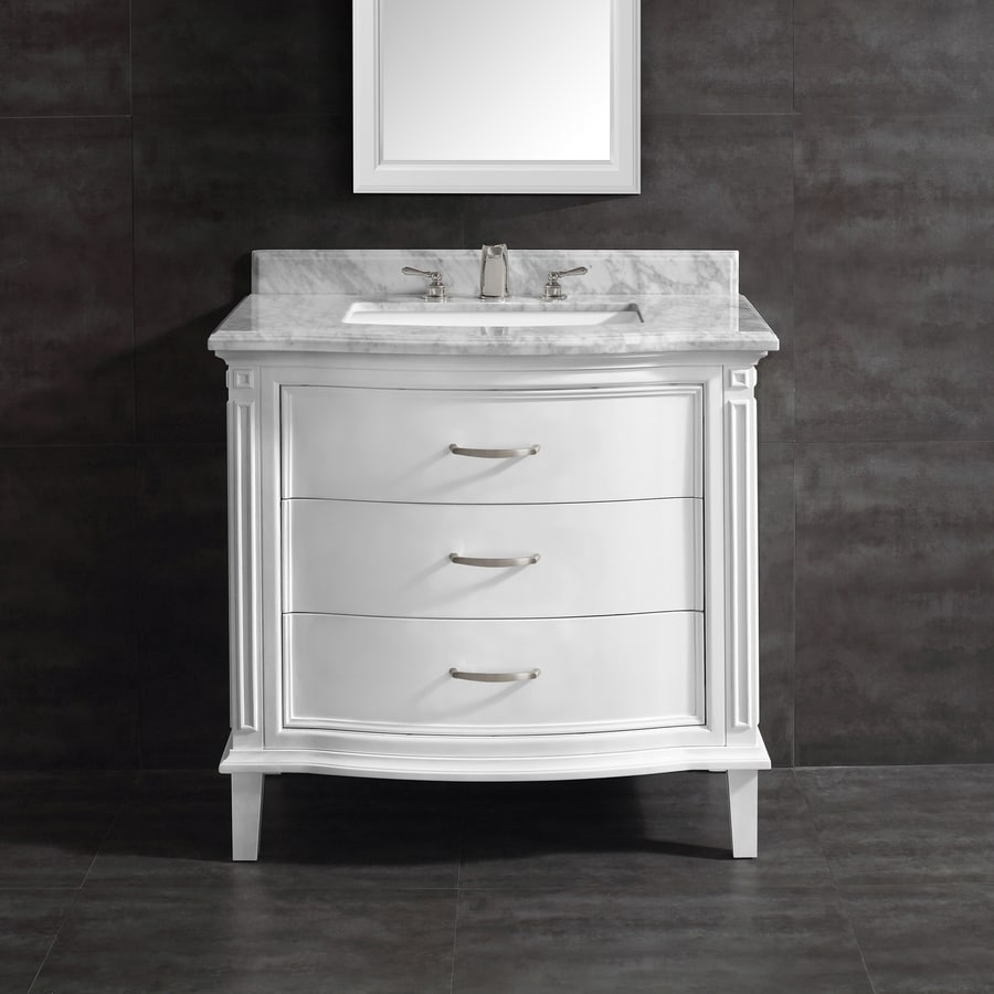 OVE Decors Rachel White 36-in Undermount Single Sink Birch Bathroom Vanity with Natural Marble Top
