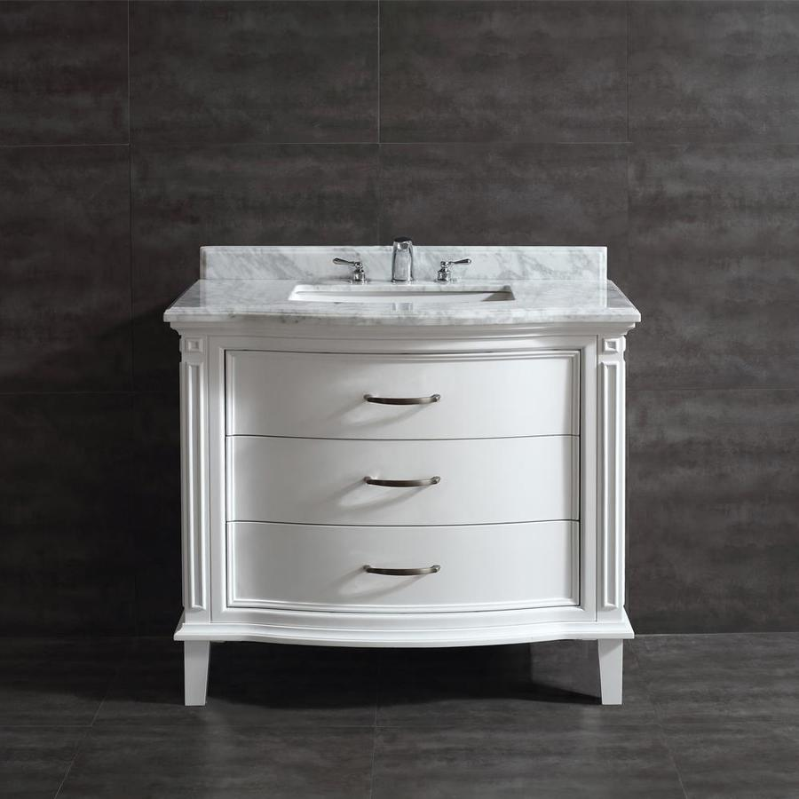 OVE Decors Rachel 40.0-in White Undermount Single Sink Bathroom Vanity with Natural Marble Top