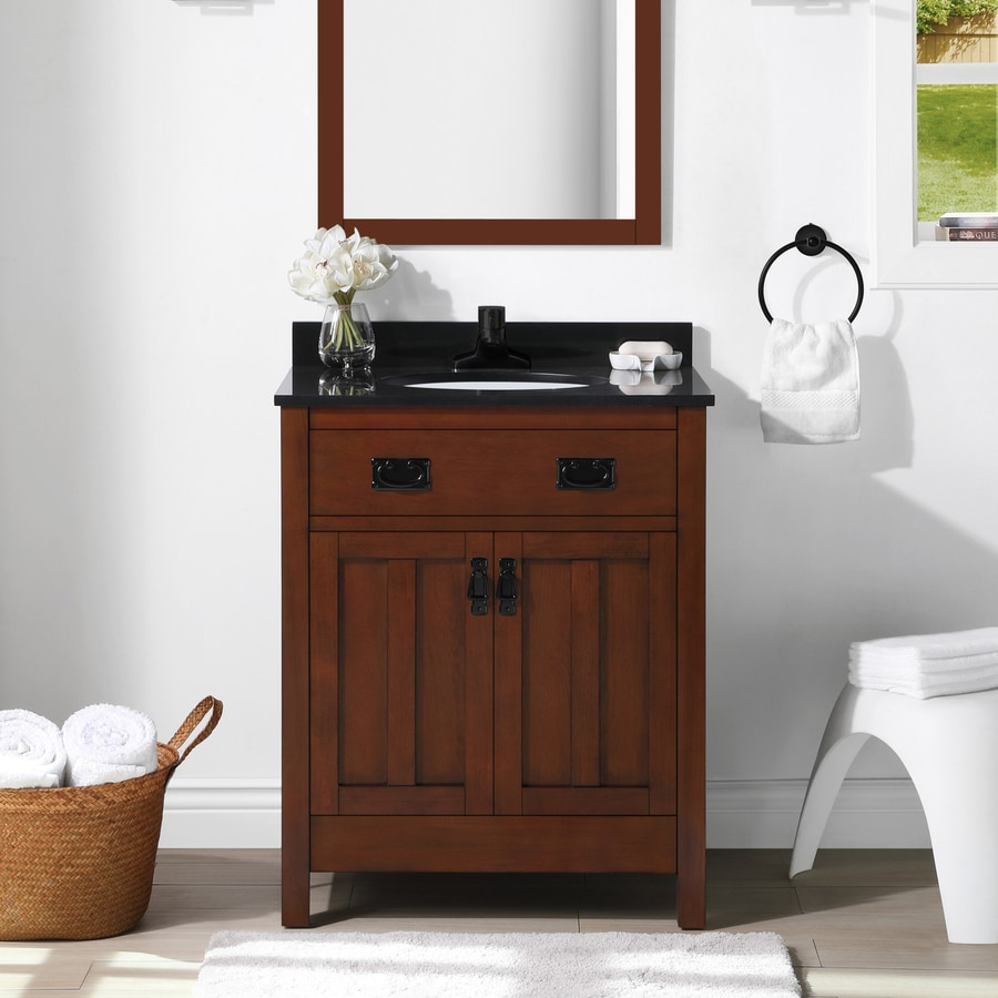 Shop ove decors cain dark walnut vanity with black granite top common 28 in x 22 in at Used bathroom vanity with sink