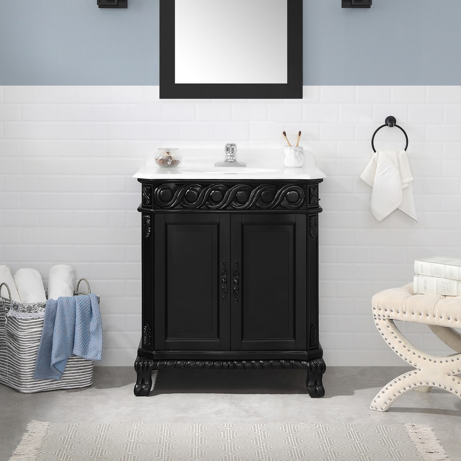 OVE Decors Trent Antique Black (Common: 30-in x 22-in) Undermount Single Sink Birch Bathroom Vanity with Cultured Marble Top (Actual: 30-in x 21-in)
