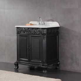 Marvelous OVE Decors Trent Antique Black Single Sink Vanity With White Cultured  Marble Top (Common: