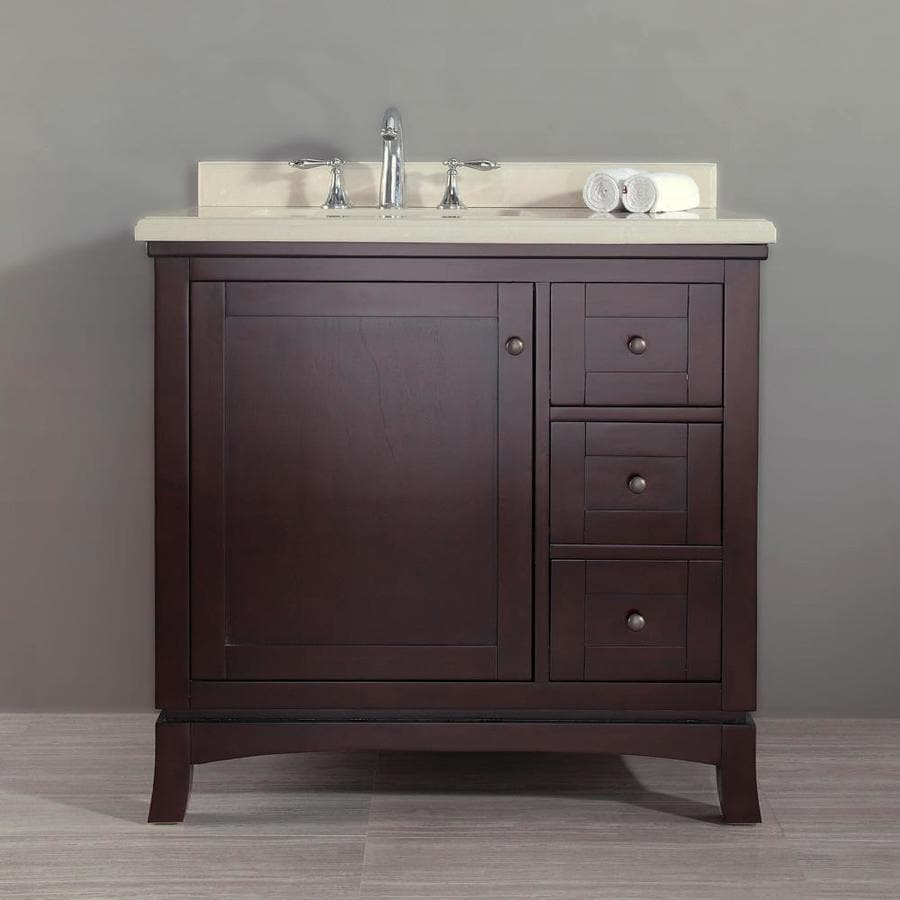 OVE Decors Valega Tobacco (Common: 36-in x 22-in) Undermount Single Sink Birch Bathroom Vanity with Cultured Marble Top (Actual: 36-in x 21-in)