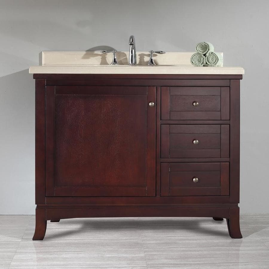 OVE Decors Valega 42.0-in Tobacco Undermount Single Sink Bathroom Vanity with Cultured Marble Top