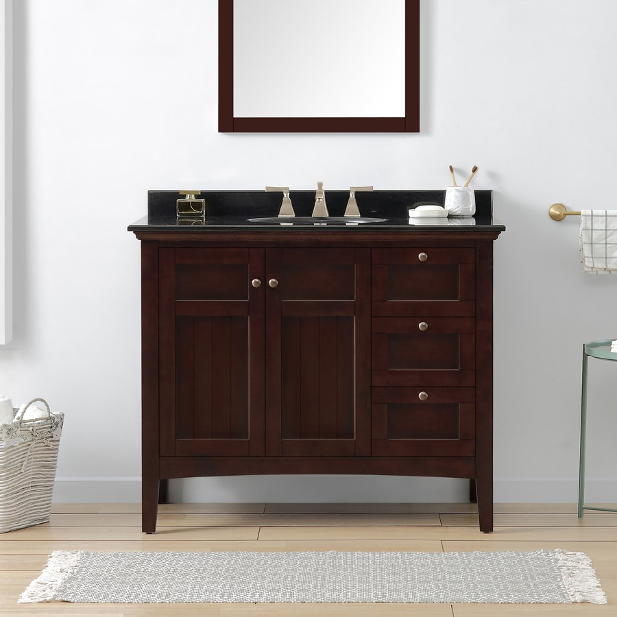 OVE Decors Gavin Tobacco Undermount Single Sink Bathroom Vanity with Granite Top (Common: 42-in x 22-in; Actual: 42-in x 21-in)