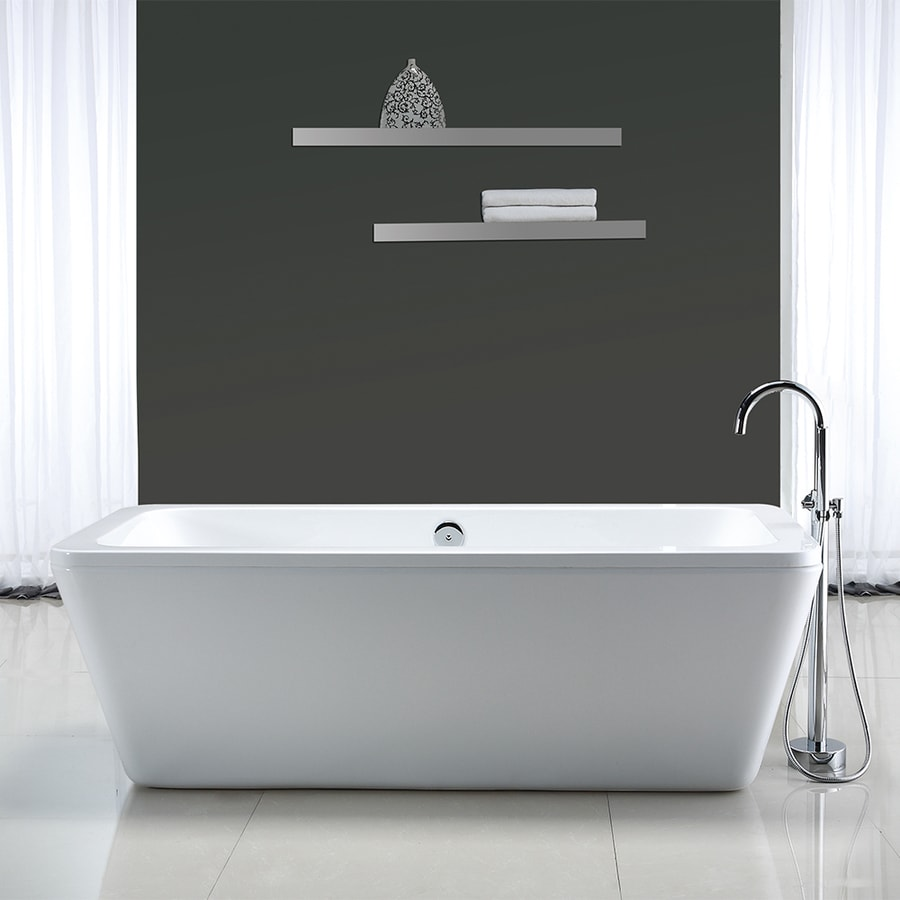 OVE Decors Kido 69-in Gloss white Acrylic Freestanding Bathtub with Center Drain
