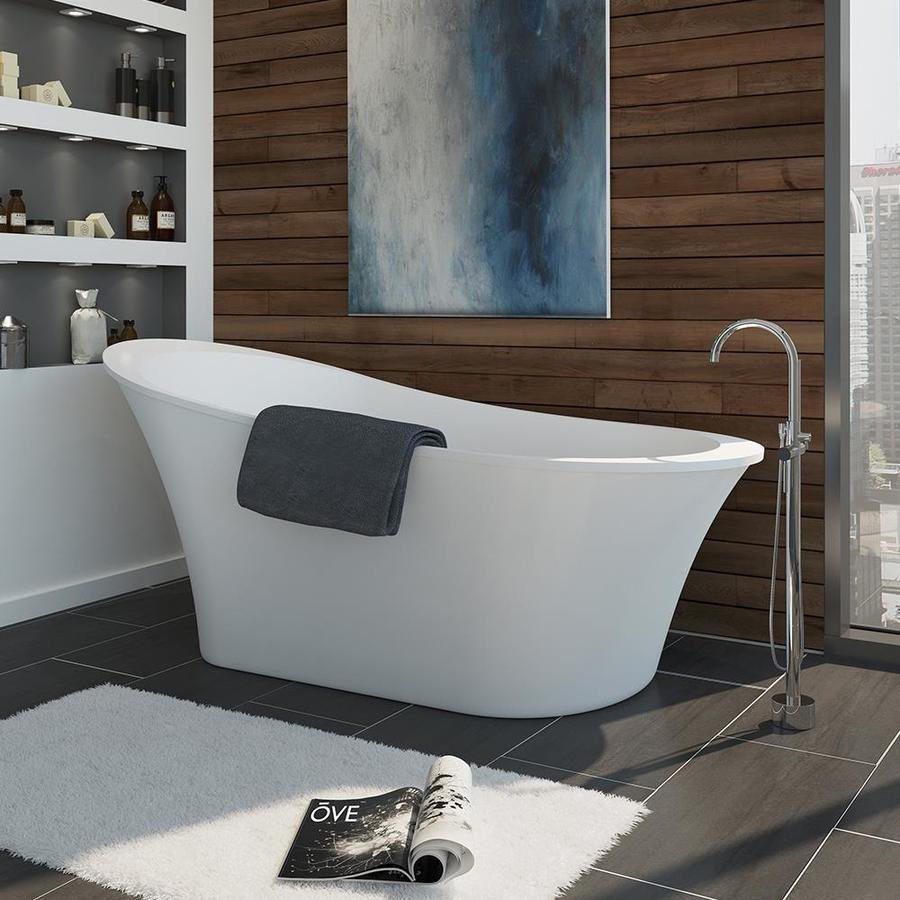 Shop Ove Decors Gloss White Acrylic Oval Freestanding Bathtub With - Lowes bathroom design center