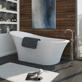 OVE Decors Rachel 70 In Gloss White Acrylic Freestanding Bathtub With Front  Center Drain