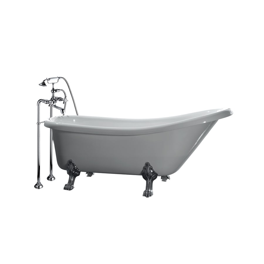 OVE Decors Gloss White Acrylic Oval Freestanding Bathtub with Front Center Drain (Common: 29-in x 66-in; Actual: 28-in x 29-in x 66-in)