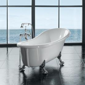 Incroyable OVE Decors 66 In Gloss White Acrylic Oval Front Center Drain Clawfoot  Bathtub With Faucet