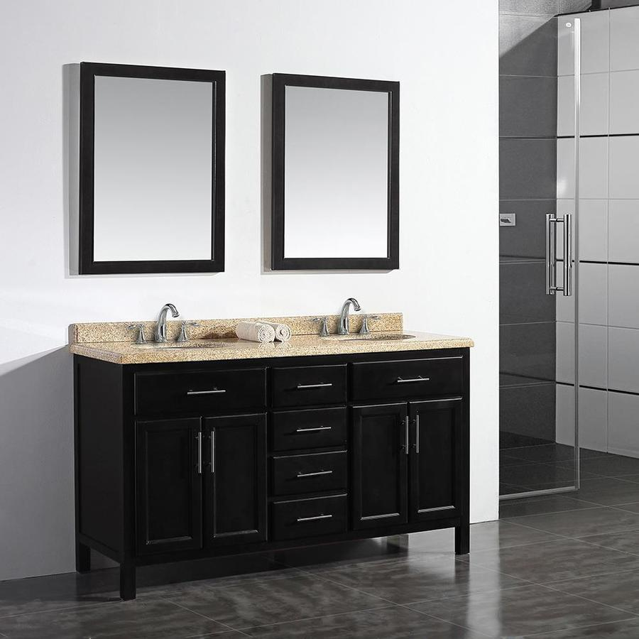 OVE Decors Malibu Dark Espresso 60-in Undermount Double Sink Birch Bathroom Vanity with Granite Top