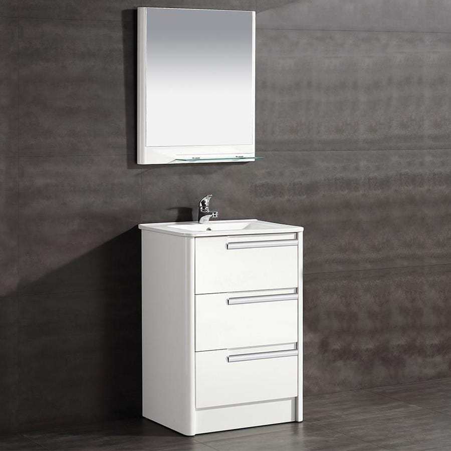Ove Decors Modena 24 In Glossy White Single Sink Bathroom Vanity With White Ceramic Top In The Bathroom Vanities With Tops Department At Lowes Com