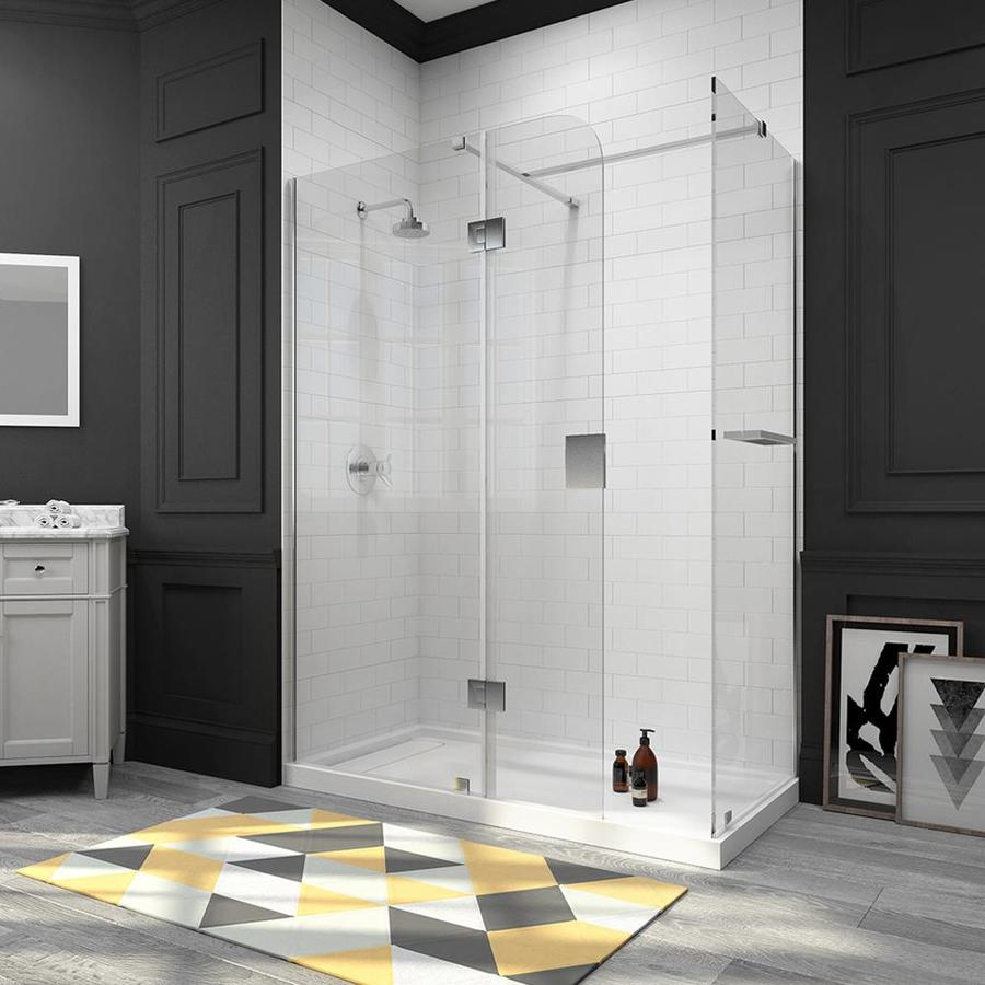 OVE Decors Nevis 58.25-in to 58.75-in Frameless Polished Chrome Pivot Shower Door
