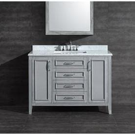 OVE Decors Daniel 48 in. Grey Single Sink Vanity with Carrara Marble Top