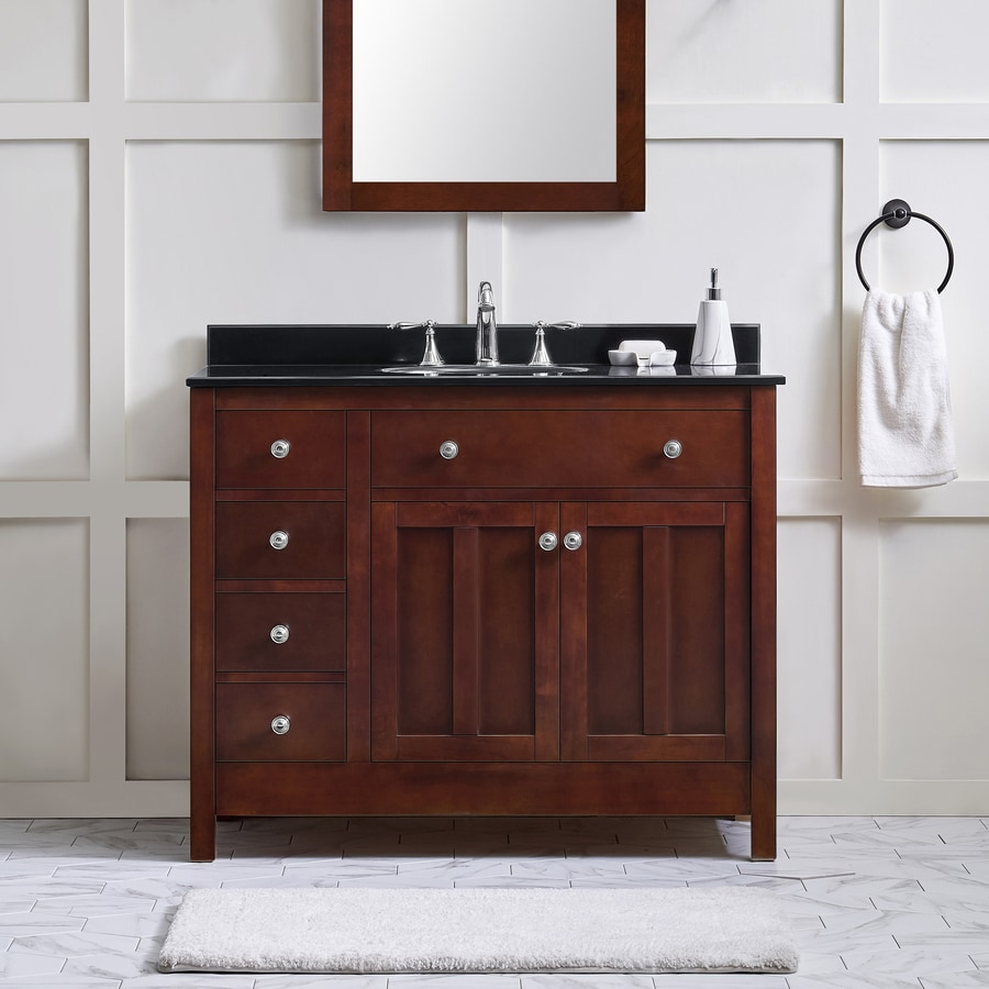 OVE Decors Adam Dark Cherry (Common: 42-in x 21-in) Undermount Single Sink Birch Bathroom Vanity with Granite Top (Actual: 42-in x 21-in)