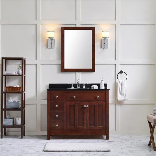 Adam 42-in Dark Cherry Single Sink Bathroom Vanity with Black Granite Top