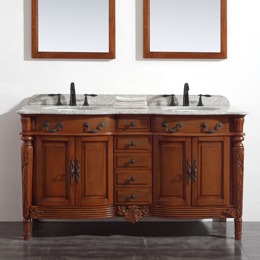 OVE Decors Karen Chestnut 60-in Undermount Double Sink Birch Bathroom Vanity with Granite Top
