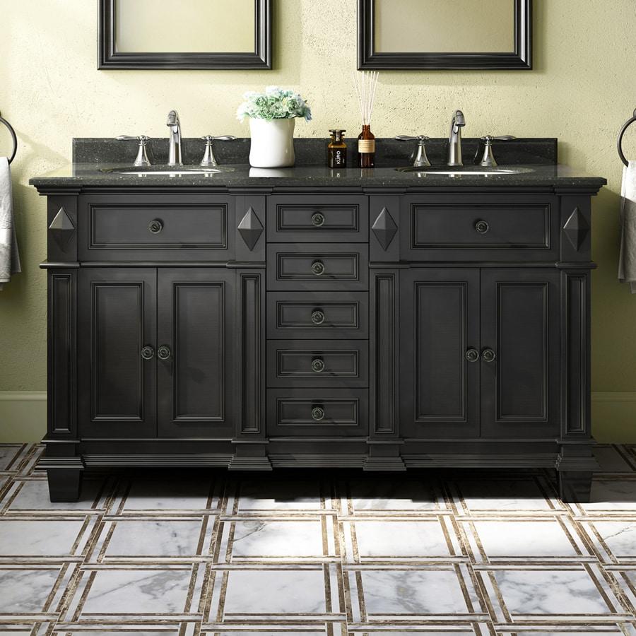 OVE Decors Essex 60.0-in Antique Black Undermount Double Sink Bathroom Vanity with Granite Top