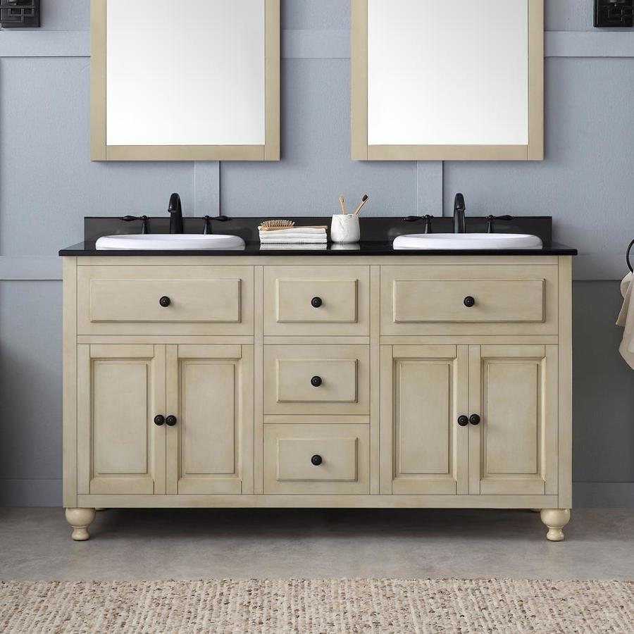 Shop ove decors kensington antique white drop in double sink bathroom vanity with granite top - Double bathroom vanities granite tops ...