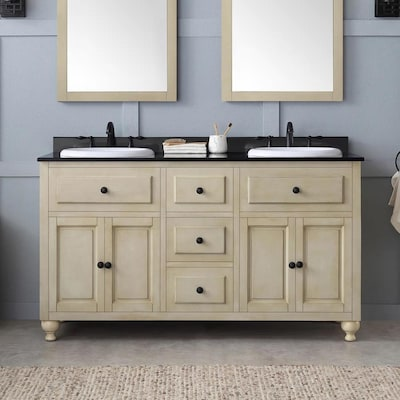 Kensington 60 In Antique White Cream Double Sink Bathroom Vanity With Black Granite Top