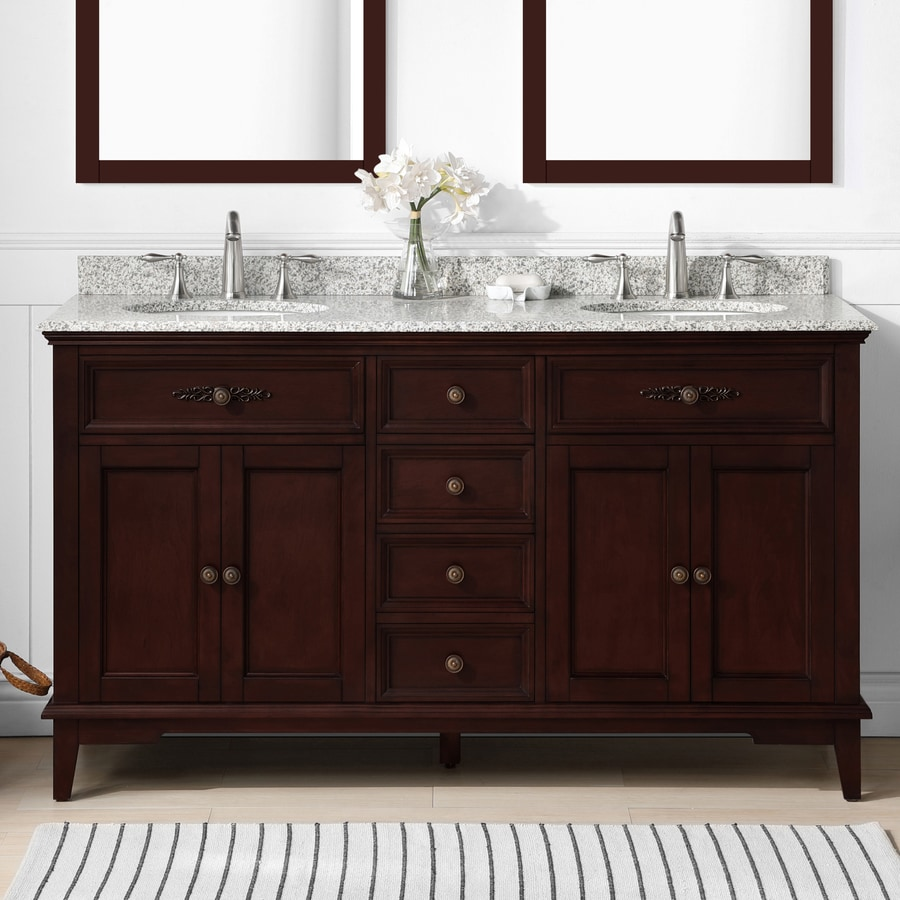 Shop ove decors dustin tobacco undermount double sink bathroom vanity with granite top common - Double bathroom vanities granite tops ...
