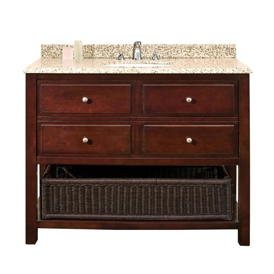 OVE Decors Danny Chocolate 42-in Undermount Single Sink Birch Bathroom Vanity with Granite Top