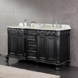 Exceptionnel OVE Decors Trent Antique Black Double Sink Vanity With White Cultured  Marble Top (Common: