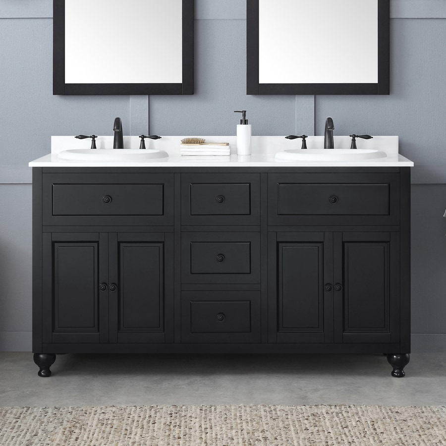 OVE Decors Kensington Antique Black Drop-in Double Sink Bathroom Vanity with Cultured Marble Top (Common: 60-in x 21-in; Actual: 60-in x 21-in)