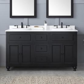 Ove Decors Kensington 60 In Antique Black Double Sink Bathroom Vanity With White Cultured Marble