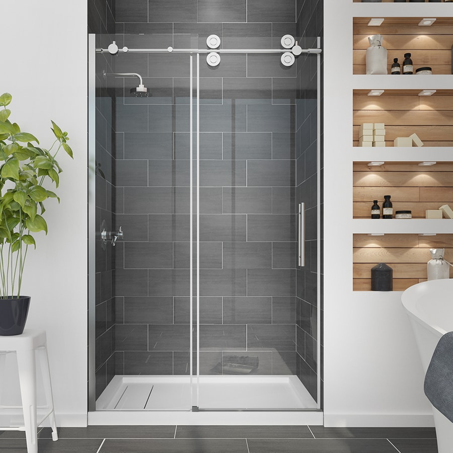 OVE Decors Sydney 45.0-in to 47.5-in Frameless Polished Chrome Sliding Shower  Door