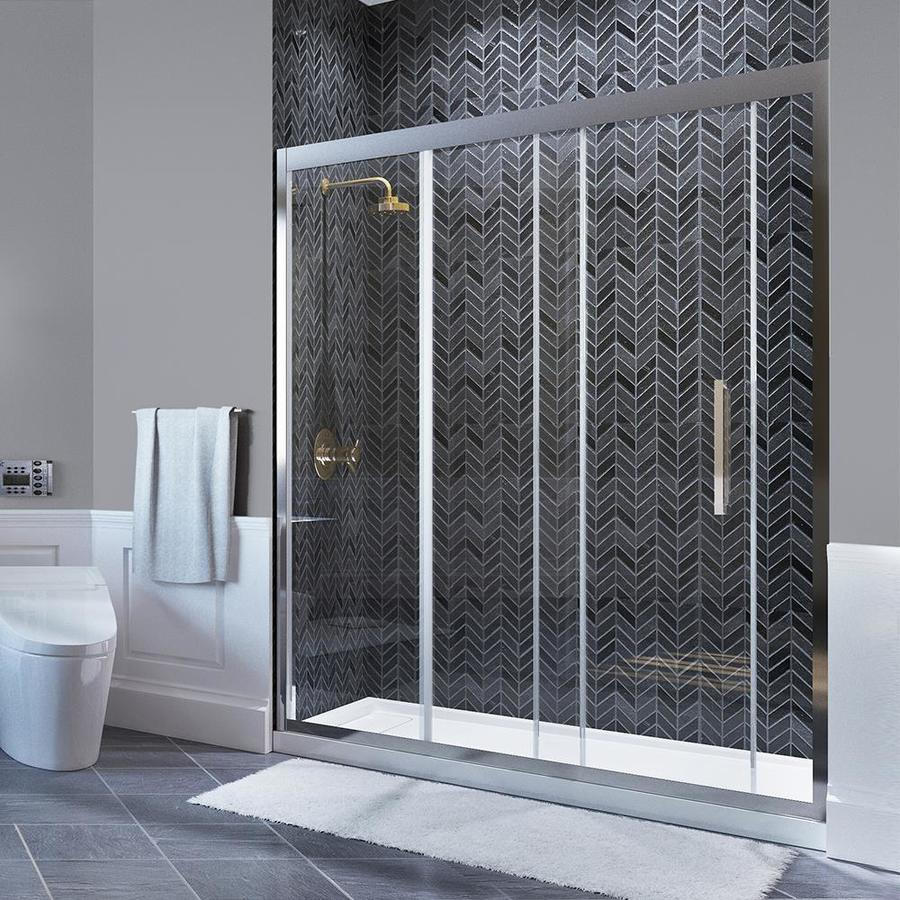 OVE Decors Granada 58.25-in to 59-in W Frameless Polished Chrome Sliding Shower Door