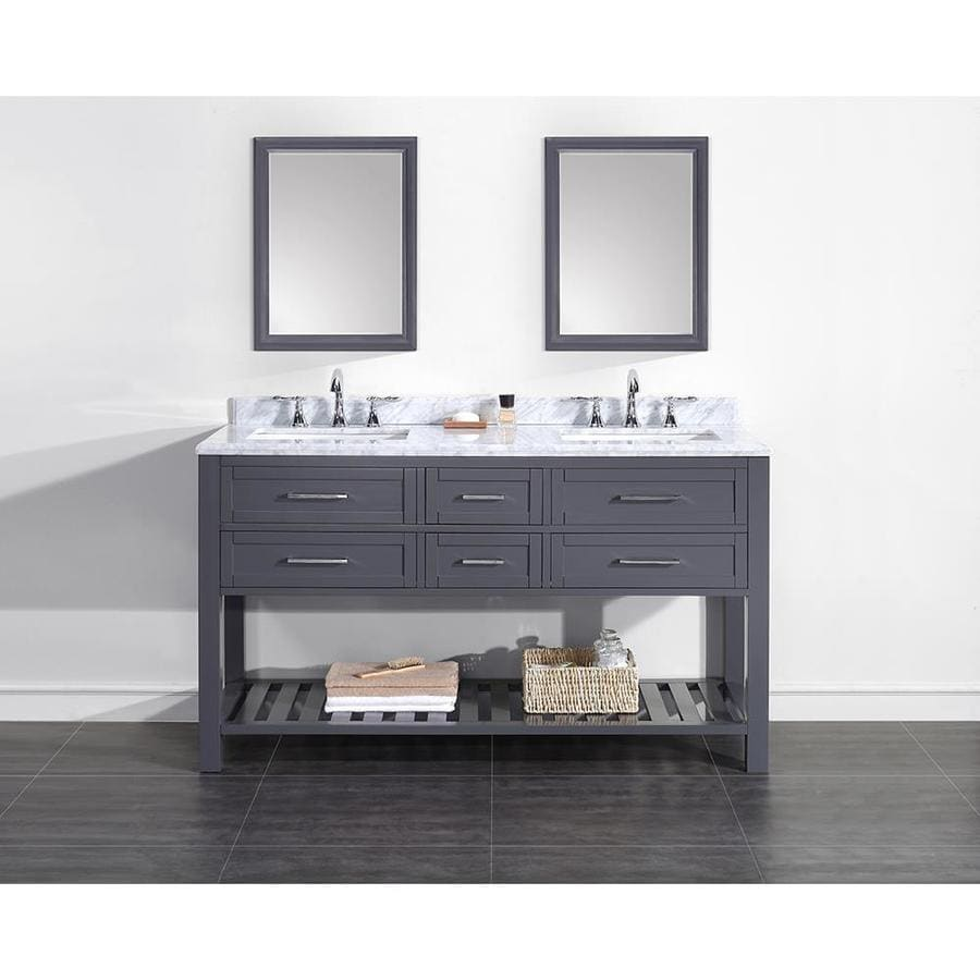 OVE Decors Pasadenas Dark Charcoal Undermount Double Sink Bathroom Vanity with Natural Marble Top (Common: 60-in x 22-in; Actual: 60-in x 22-in)